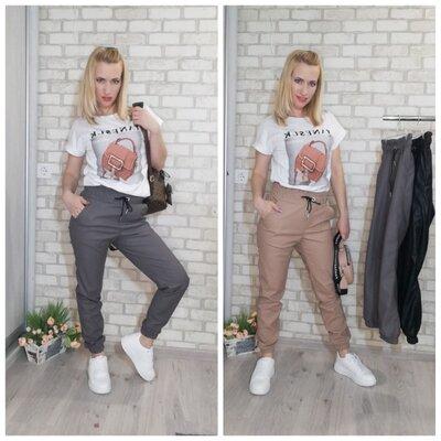 Трендовые Джоггеры женские экокожа, 42-48р, штаны, брюки