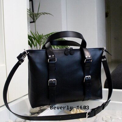 Мужская кожаная сумка Beverly черная матовая