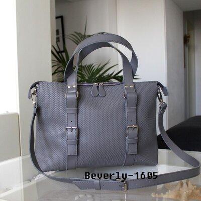 Мужская кожаная сумка Beverly серая плетеная