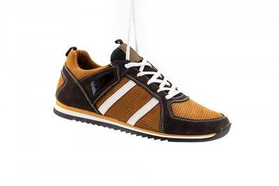 Кожаные кроссовки с перфорацией на теплое время года