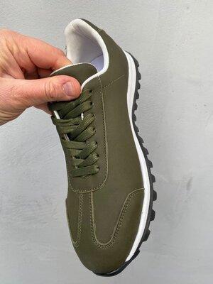 Кожаные кроссовки цвета хаки, 42 размер