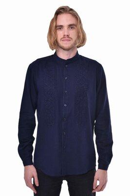 Чоловіча вишита сорочка «Сила» темно-синя