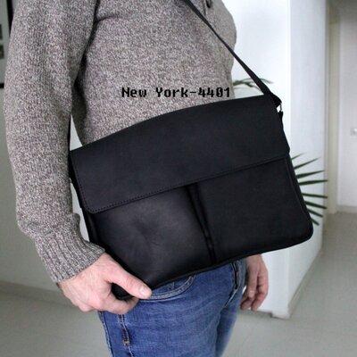 Мужская кожаная сумка New York черная Crazy Horse