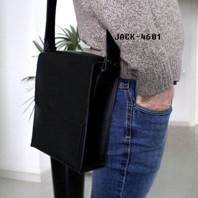 Мужская кожаная сумка JACK флотар чернаяA5