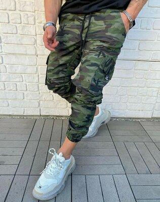 Мужские джинсы молодежные джогеры узкачи комуфляжные защитные на резинке