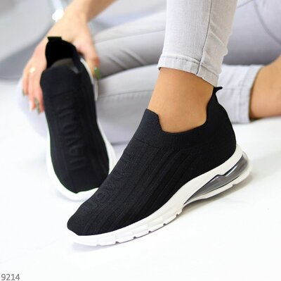 Черные текстильные кроссовки, женские кроссовки Socks кросівки текстиль 37-40р Код 9214