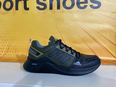 Мужские кожаные кроссовки Adidas Terrex Hikster Olive