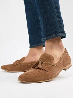Фирменные светло-коричневые замшевые лоферы с кисточками, мокасины-туфли