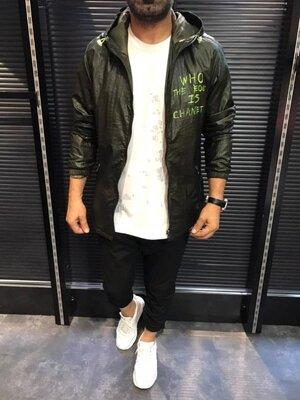 Куртка-Ветровка темный хаки D109