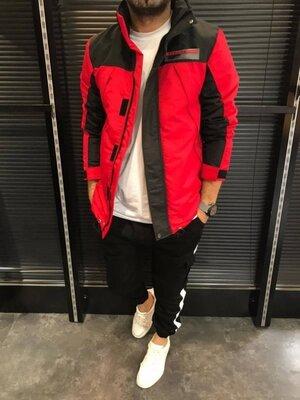 Куртка-Ветровка цвет красный с черным D107