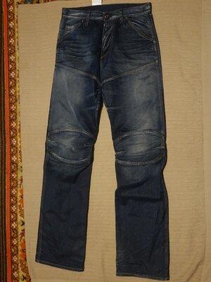 Фирменные синие х/б джинсы - элвуды с выбеленностями и потертостями G-Star Raw Голландия 32/ 38 р.