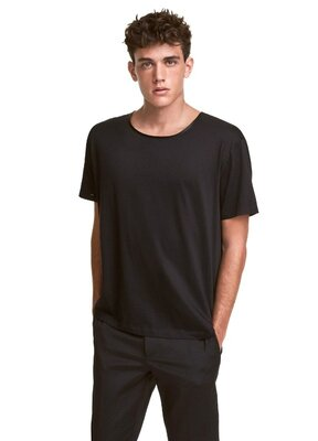 Черная брендовая футболка хлопок - H&M оригинал р.M