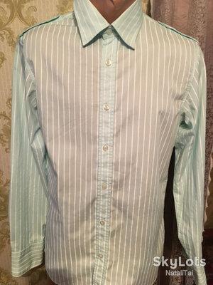 Рубашка мужская зелёная салатовая Check Out