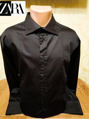 Элегантная хлопковая рубашка красивого шоколадного цвета известного испанского бренда Zara.