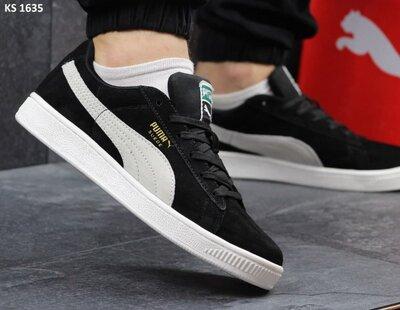 Лучшее качество. Мужские Кроссовки Puma Suede черно/белые KS 1635