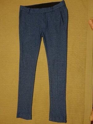 Мягкие узкие меланжевые буклированные трикотажные брюки- чиносы Asos Англия 32 р