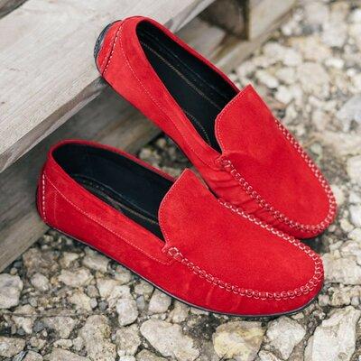 Яркие красные лёгкие удобные классные мокасины мокасы мужские стильные качественные