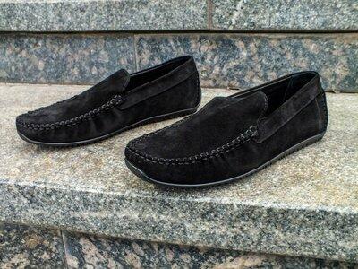 Стильные замшевые комфортные мужские мокасины мокасы черные лёгкие удобные брендовые