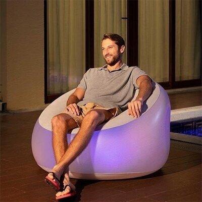 Надувное кресло Bestway 75086, с LED подсведкой, белое 102 х 97 х 71 см