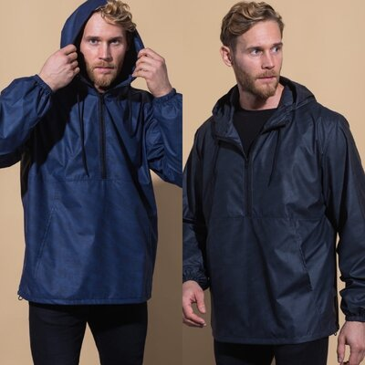 Анорак куртка мужская, с капюшоном и карманами, модная, плащевка, молния спереди, до 58 р-ра
