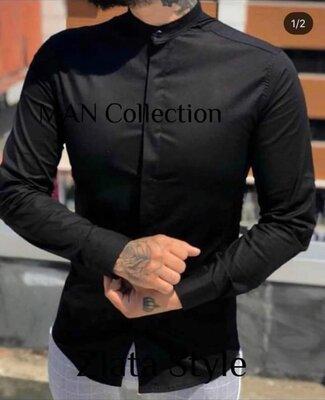 Мужская рубашка Котон черная Хит Сезона