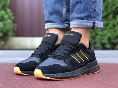 Мужские кроссовки Adidas Zx 500 Rm,чорні з помаранч