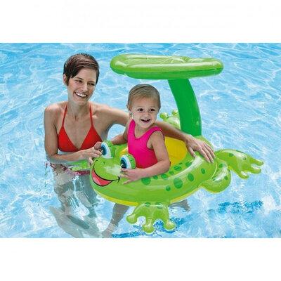 Детский надувной плотик круг ходунки Intex 56584 Лягушка с навесом, 119х79 см