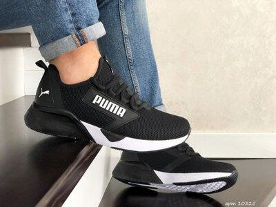 Puma кроссовки мужские демисезонные черные с белым 10325
