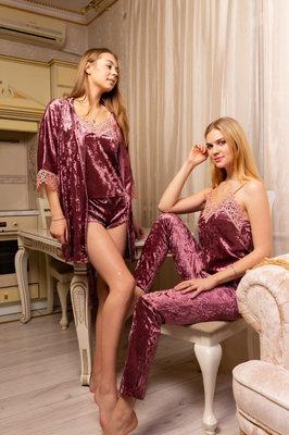 Велюровый набор майка шорты штаны халат розовый S,M,L