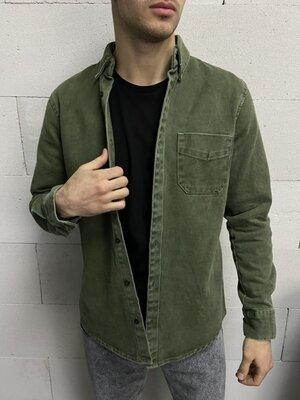 Рубашка джинсовая зелёная