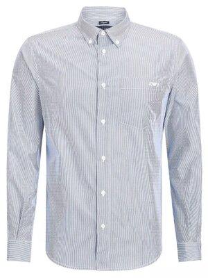 Мужская голубая белая в полоску рубашка хлопок длинный рукав armani jeans оригинал