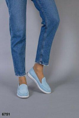 Женские натуральные мокасины лоферы туфли на низком ходу голубые нежные без каблука