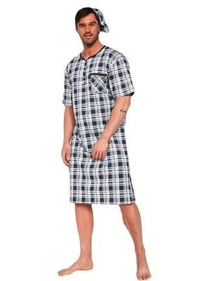 Мужская ночная хлопковая сорочка в клетку графитового цвета cornette 109/06