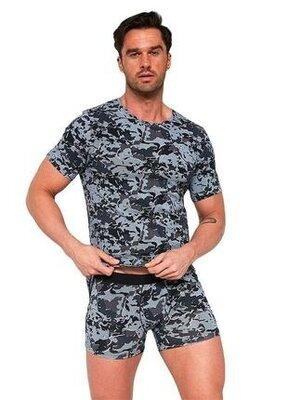 Мужская хлопковая футболка графитового цвета cornette 294/01 military