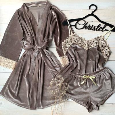Бархатный набор пижама халат капучино