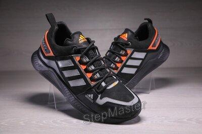 Мужские кожаные кроссовки Adidas Terrex Hikster Black-Silver-Orange