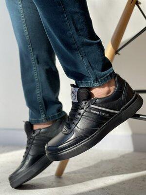 Мужские кеды кожаные весна/осень черные Splinter 1521 Trend System