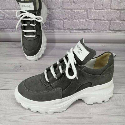 Продано: Кроссовки кеды кросы женские черные черный натуральная кожа кожаные серые серый замш