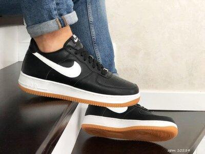 Стильные кроссовки Nike Air Force Af 1 черно/бело/коричневые р.41-45