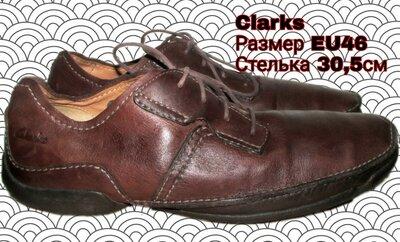 Туфли кожаные Clarks. 46 размер. 30,5 см