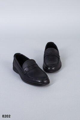 Код 8202 Мужские туфли Сезон деми Размеры 40-45 Цвет черный Материал натуральная кожа флотар Вн