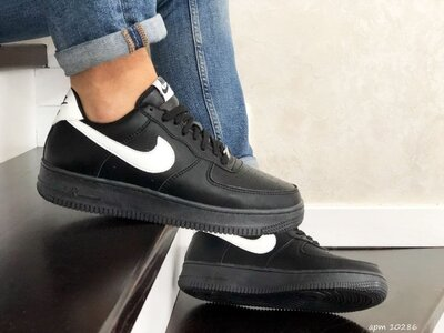 Стильные кроссовки Nike Air Force Af 1 черно/белые р.41-45