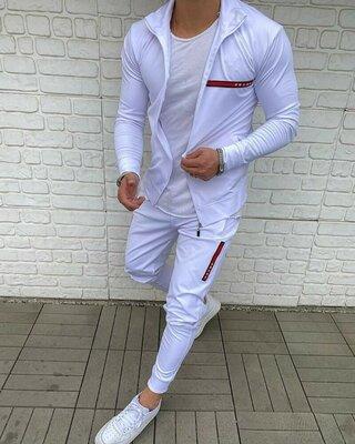 Стильный мужской спортивный костюм комплект белый городской прогулочный