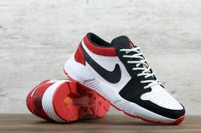 Мужские кожаные кроссовки Nike-Jordan 01-17/9 бел/чер/кр
