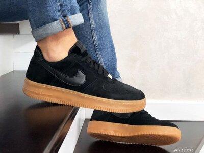 Стильные кроссовки Nike Air Force Af 1 черно/коричневые р.41-45