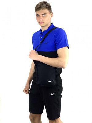 Костюм мужской Nike шорты , футболка электрик-черный барсетка кепка Nike белое лого в подарок