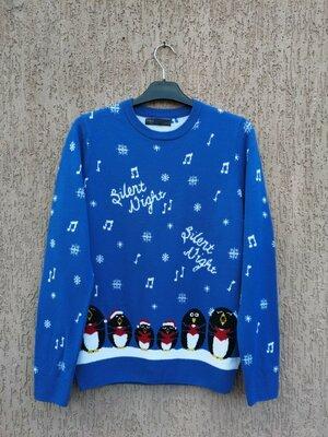 светр новорічний свитер новогодний с пингвинами marks & spencer