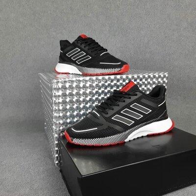 Кроссовки мужские Adidas Nova Run, черные с красным
