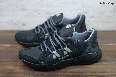 Мужские кожаные кроссовки New Balance, код NZ ч/сер