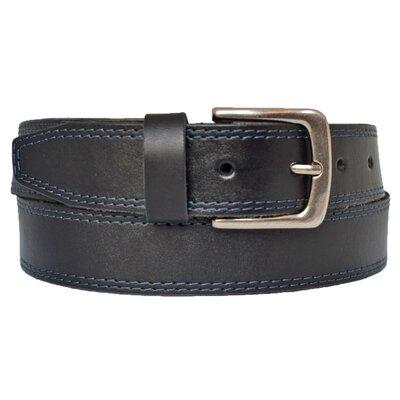 Кожаный мужской ремень черный джинсовый c синей строчкой Skyline38